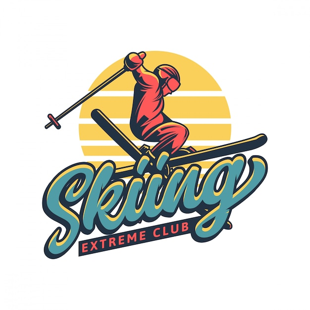 Skiing extreme club logo in vintage style Premium Vector