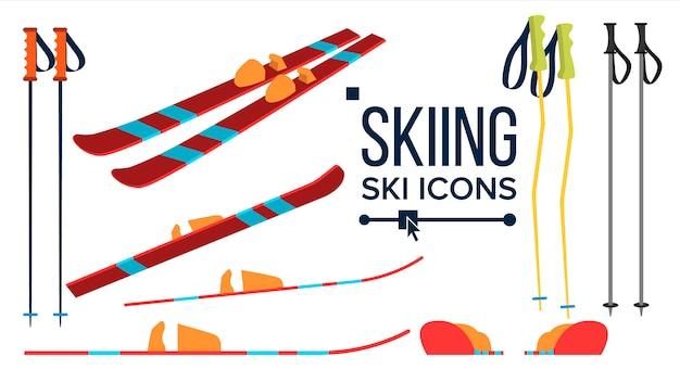 Skiing icon set Premium Vector