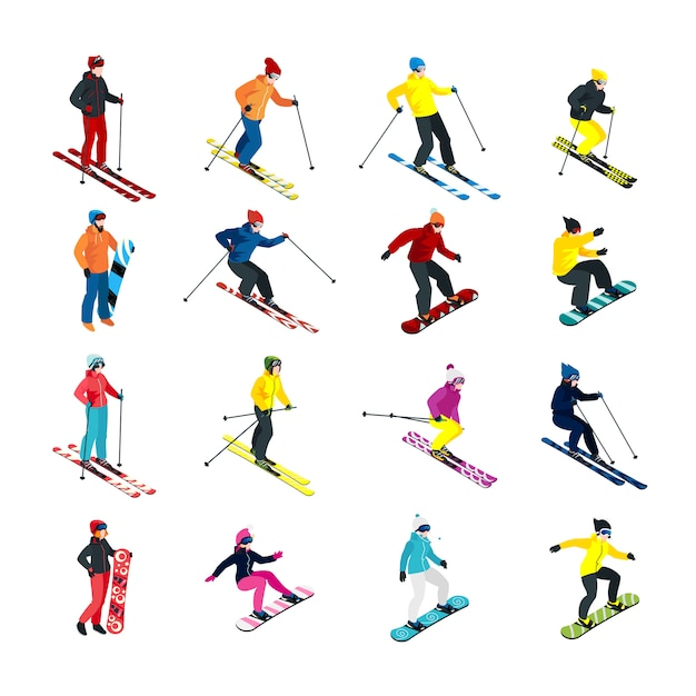 Skiing isometric set Free Vector