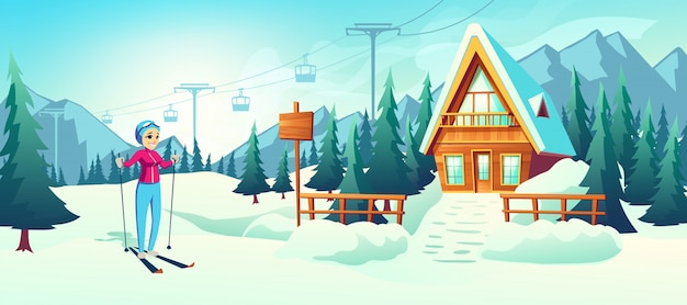 Skiing in mountain winter resort cartoon Free Vector