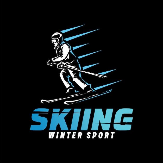 Skiing sport logo. winter sport logo template Premium Vector