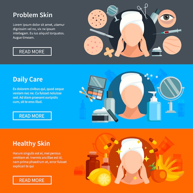 Skin care flat banners with problem skin treatments daily cosmetics and healthy skin Free Vector