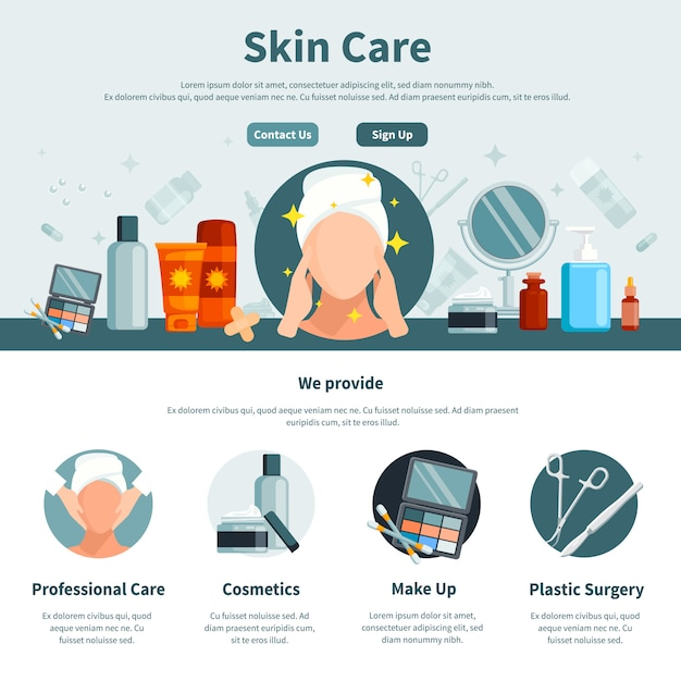 Skin care one flat page for web design with contact information professional and make up Free Vector
