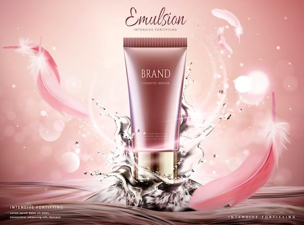 きらびやかな背景に渦巻く水とピンクの羽のスキンケア製品の広告、 Premiumベクター