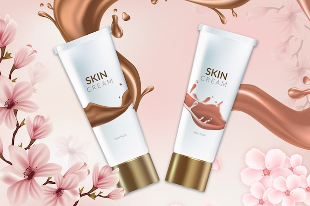 Skin cream healthy cosmetic products ad Free Vector