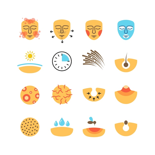 Skin, face problems, acne treatment, protect vector icons Premium Vector