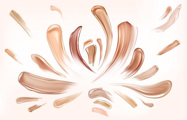 Skin foundation smear brush strokes set. Free Vector