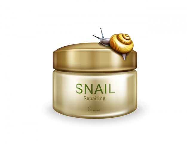 Skin repairing cream realistic vector isolated on white background. live snail creeping on plastic j Free Vector