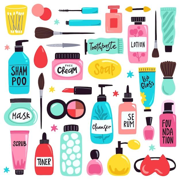 Уход за кожей и макияж иллюстрации Premium векторы