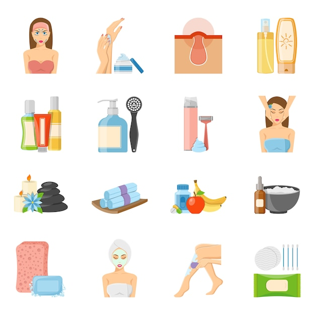 Skincare and bodycare flat icons Free Vector