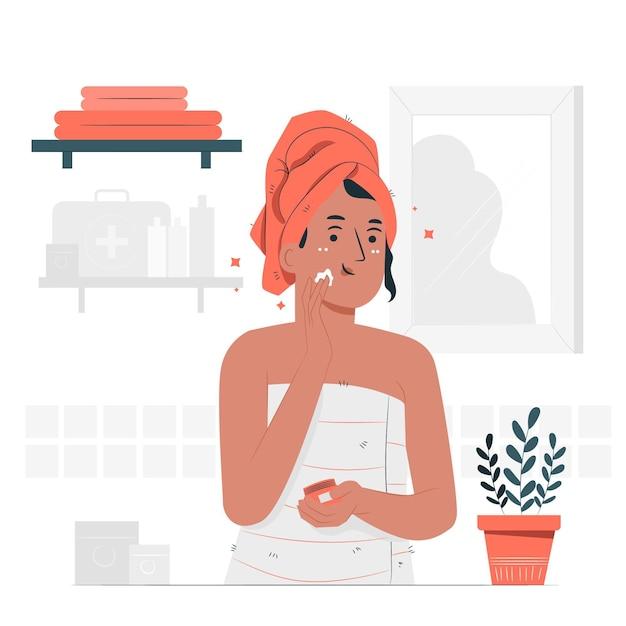 Иллюстрация концепции ухода за кожей Бесплатные векторы