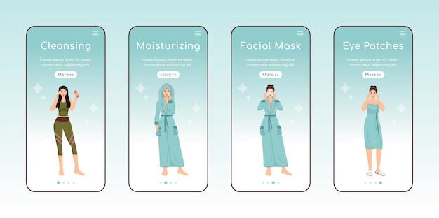 Skincare steps onboarding mobile app screen flat  template. Premium Vector