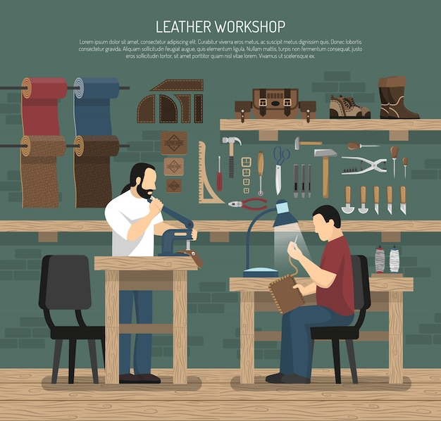 Skinners working in leather workshop Free Vector