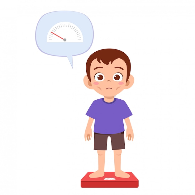 Skinny sad boy use weight scale Premium Vector