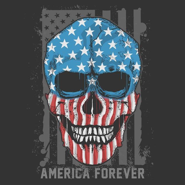 Skull america usa flagアートワークベクトル Premiumベクター