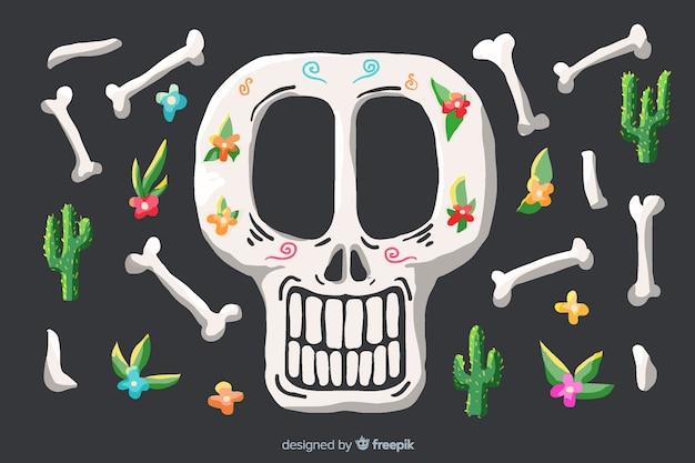 頭蓋骨と骨水彩ディアデムエルトス背景 無料ベクター