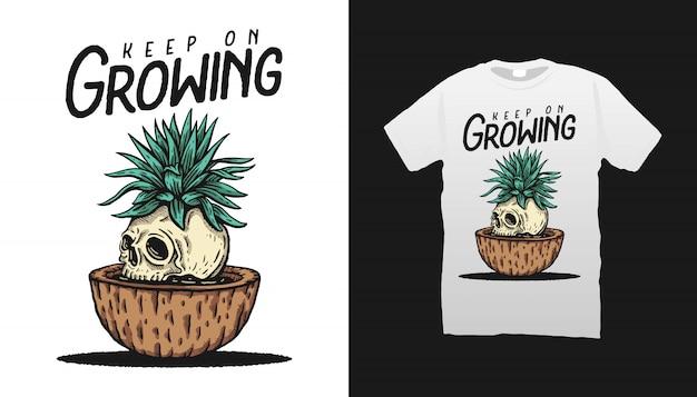 頭蓋骨と植物のイラストtシャツデザイン Premiumベクター