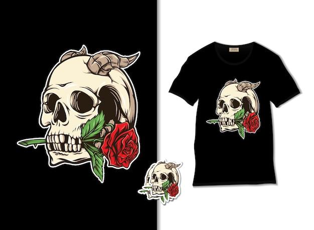 Иллюстрация черепа и розы Premium векторы