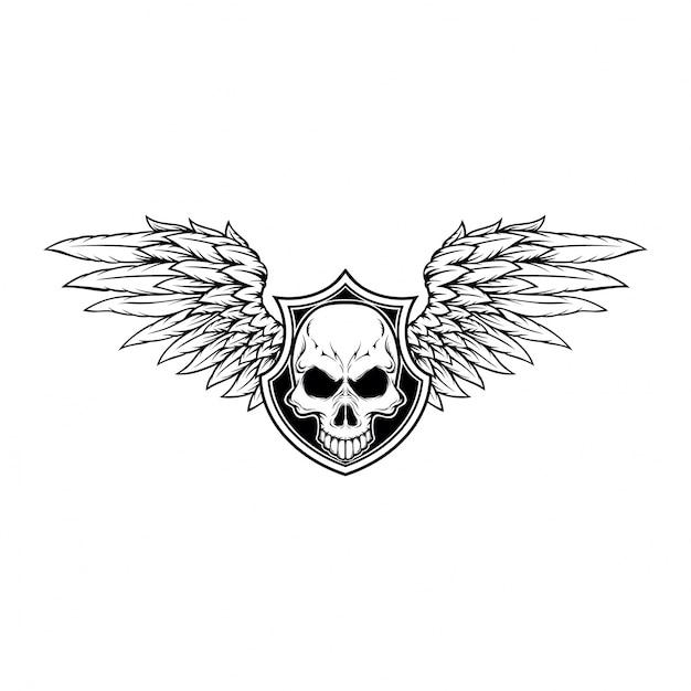 Skull And Wings Design Vector Premium Download