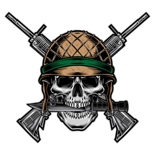 Skull army with rifle vector Premium Vector