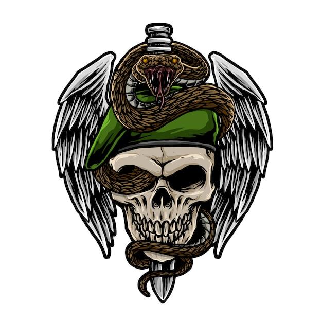 ヘビのイラストが頭蓋骨軍 Premiumベクター