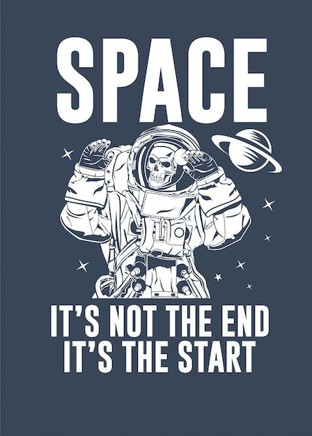 Череп astronaut векторная иллюстрация Premium векторы