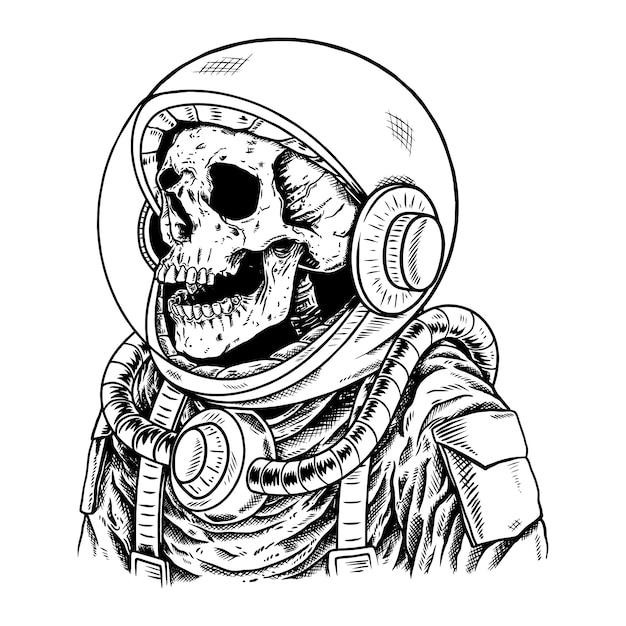 Skull astronaut Premium Vector