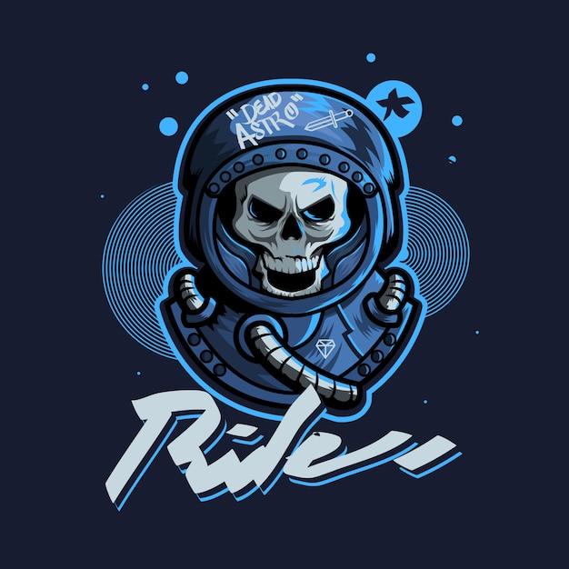 Skull astronout urban art gaming logo Premium Vector