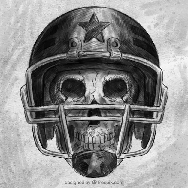 Skull background with hand drawn sport\ helmet