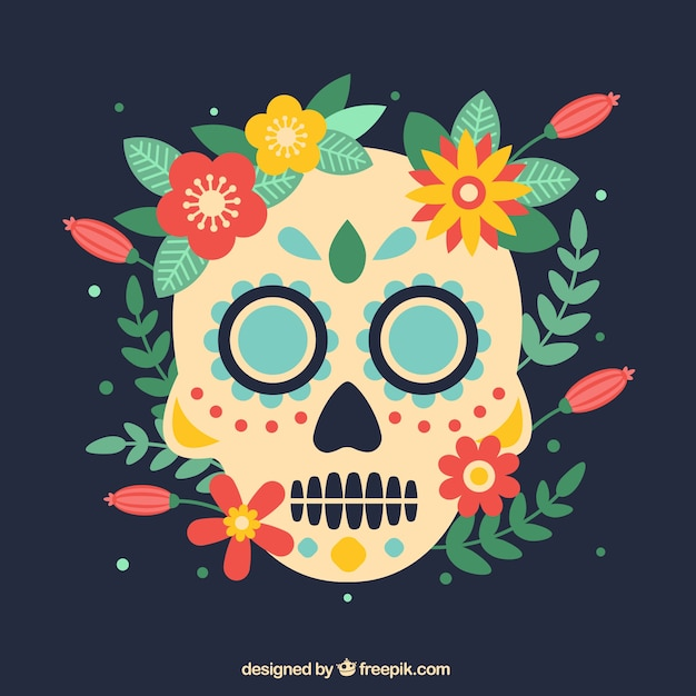Skull background with natural elements Free Vector