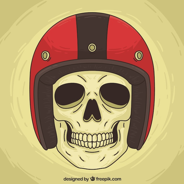 Skull background with red helmet Free Vector