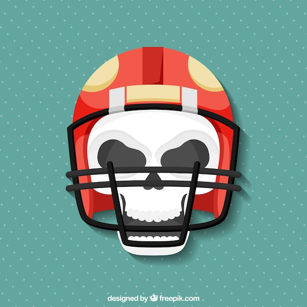 Skull background with sports helmet