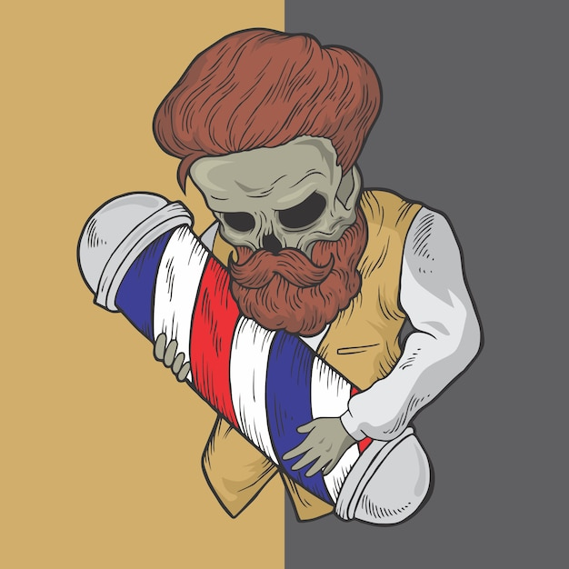 Skull barber hand drawn style vector design illustrations. Premium Vector