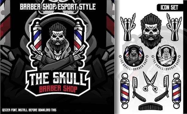 The skull barber shop set mascot logo Premium Vector