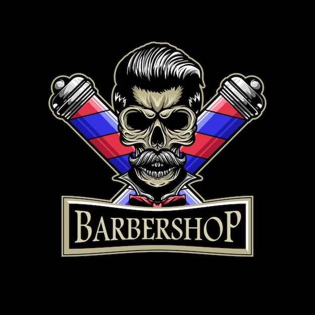 Skull barbershop logo whit skull illustation mascot Premium Vector