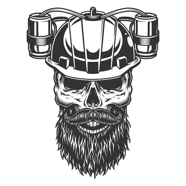 Skull in the beer helmet Free Vector