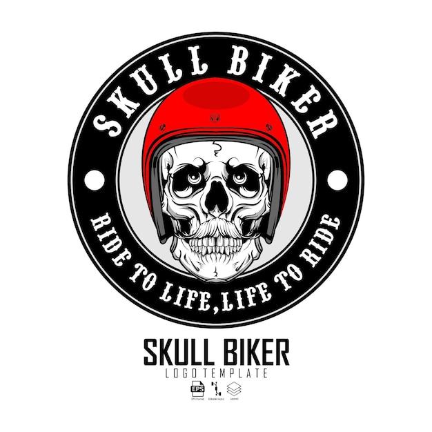 Шаблон логотипа черепа байкера Premium векторы