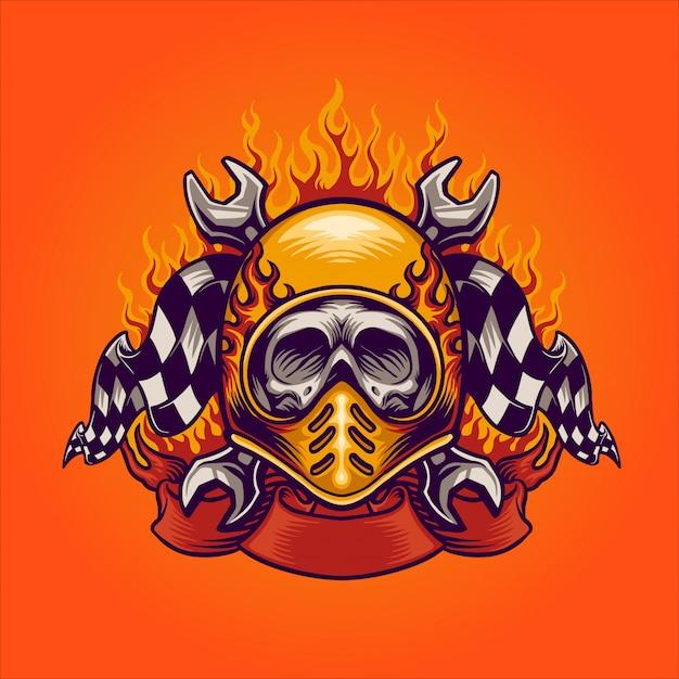 Skull bikers Premium Vector