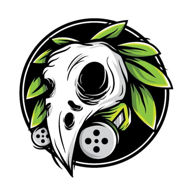 Skull bird with leaf vector illustration Premium Vector