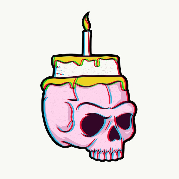 Cool Skull Birthday Cake And Candle Premium Vector Funny Birthday Cards Online Eattedamsfinfo
