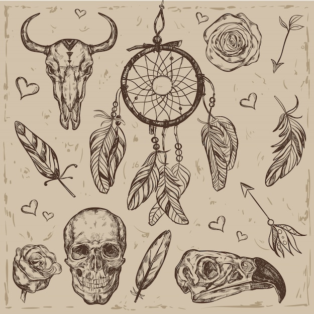 Skull boho illustration set Free Vector