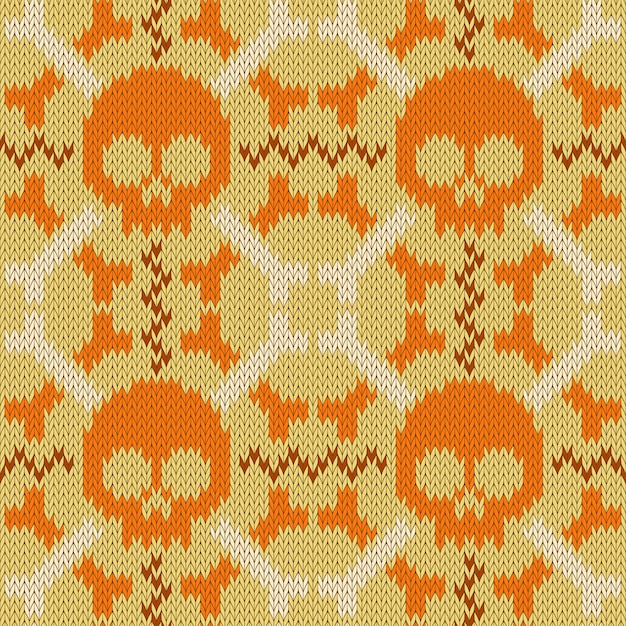 Skull and bones. knitted seamless woolen pattern in beige shades Premium Vector
