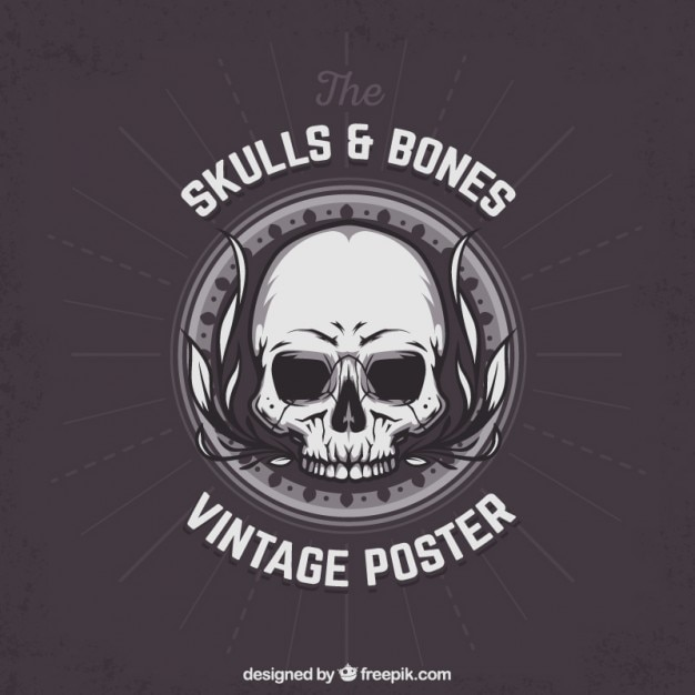 Skull and bones poster Free Vector