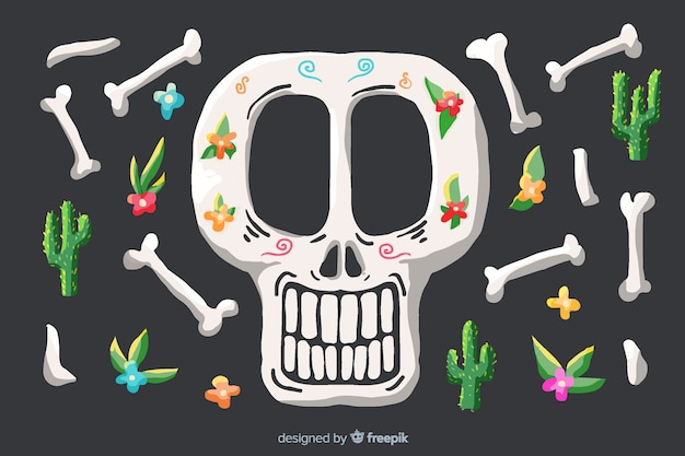 Skull and bones watercolour día de muertos background Free Vector