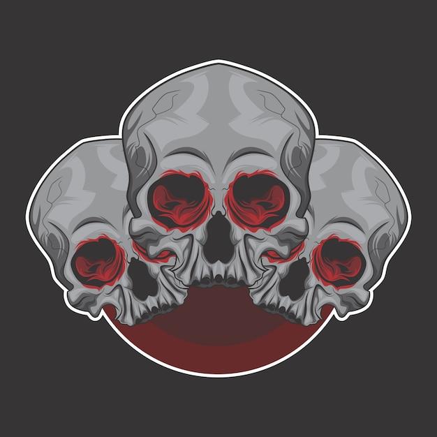 Skull brother logo Premium Vector