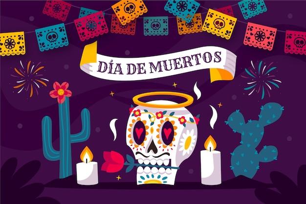 Skull and cacti dia de muertos background Free Vector