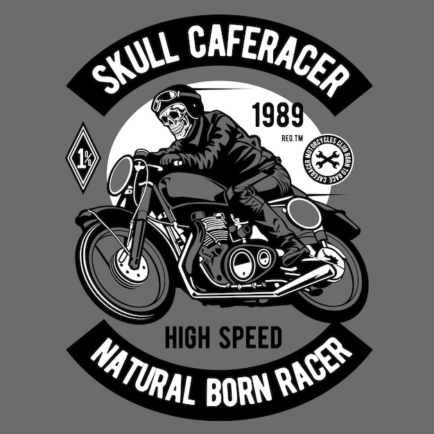 Skull caferacer Premium Vector