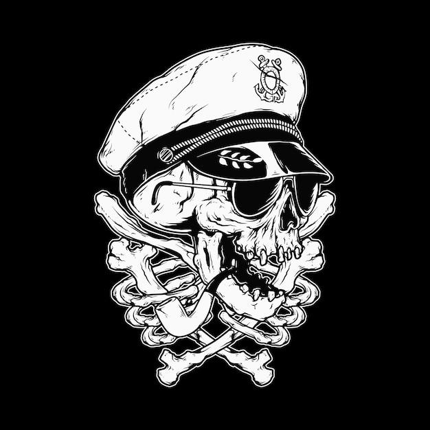 Череп капитана костей ужас графическая иллюстрация Premium векторы