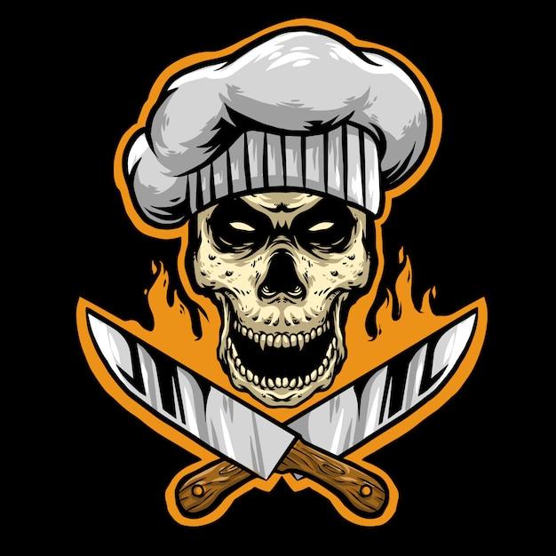 ナイフのロゴのマスコットとスカルシェフ Premiumベクター