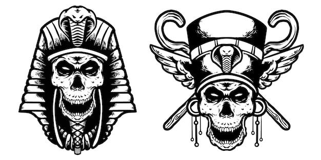 Skull cleopatra and skul pharoh design Premium Vector